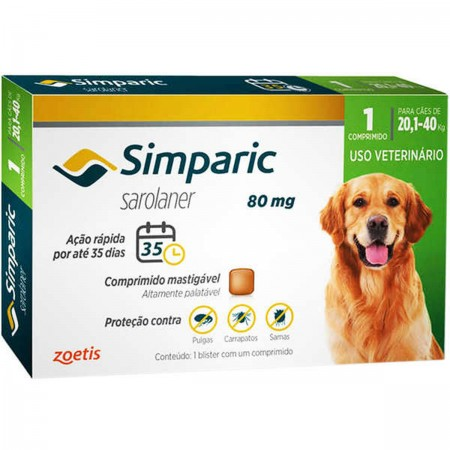 SIMPARIC 80MG  20,1 A 40KG  1CP - ANTIPULGAS PALATAVEL