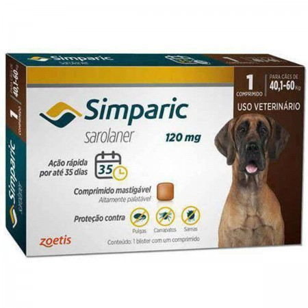 SIMPARIC 120MG  40,1 A 60KG  1CP - ANTIPULGAS PALATAVEL