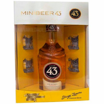 Kit MiniBeer 43 (Licor 43 + 4 Mini Canecas Exclusivas) Diego Zamora - 700ml