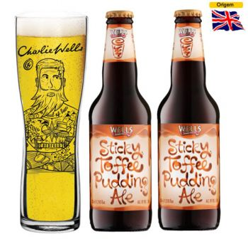 Cerveja Wells Sticky Toffee Pudding Ale 500 ml com Copo Charlie Wells