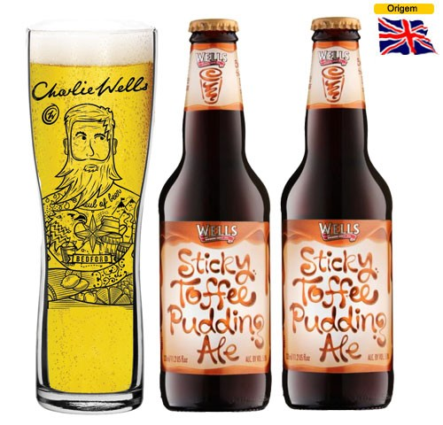 Cerveja Wells Sticky Toffee Pudding Ale 500 ml com Copo