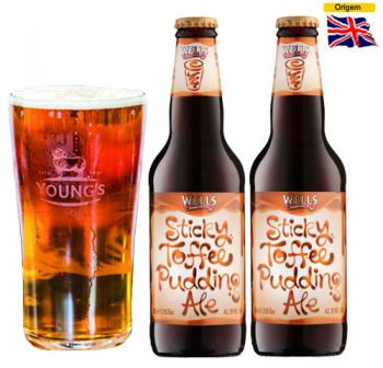 Cerveja Wells Sticky Toffee Pudding Ale 500 ml com Copo Youngs Pint