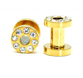 Alargador Flesh Tunnel Aço Inox Gold PVD com Crystal