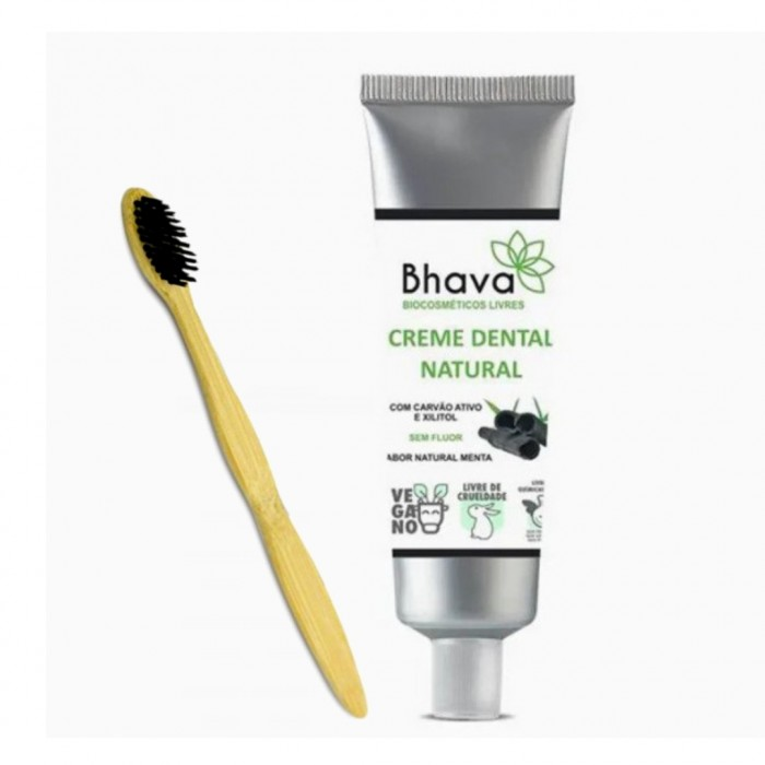 Kit Higiene - Creme Dental + Escova de dente Bambu  - Bhava