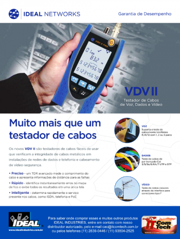 Testador de Cabos de Vídeo/Dados/Voz RJ-45/RJ-11/Coax - R158002 VDV II Plus - Ideal Industries