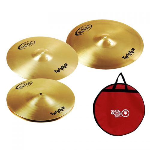 Set de Pratos Orion Twister TWR75 Hi Hat 13 Crash 16 e Crash Ride 18 com Bag