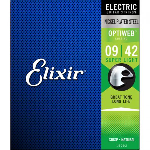 Encordoamento para Guitarra Elixir 009 Super Light Revestimento Optiweb