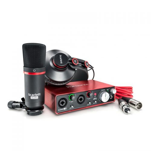 Interface Scarlett Studio 2ND-GN Kit de gravação de áudio Com Interface USB Microfone e Fone - Focusrite