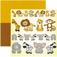 - Papel Scrapbook Safari Animais -12197  TEC