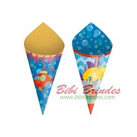 - Mini Cone Decorativo  Fundo do Mar - Pct c/ 24 unidades - Cod. 23900016- Cromus