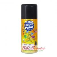 Tinta Preta Decor Paint Artística 150 ml Spray - 1 Unidade - Acrilex