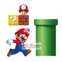 - Kit Decorativo Super Mario - 4 Enfeites - Ref. 23010894 - Cromus