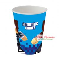 - Copo de Papel Authentic Games 200ml - Contém 8 unid. - Ref. 105833 - Festcolor