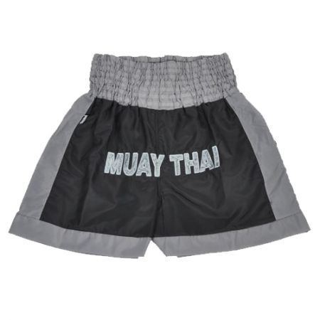 Shorts Muay Thai Bordado - Preto / Cinza - Shiroi