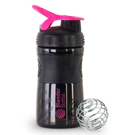 Coqueteleira Sport Mixer - Blender Bottle - Preto / Rosa - 20oz / 590ml
