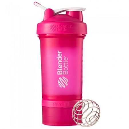 Coqueteleira ProStak Full Color 4 Compartimentos - Blender Bottle - Rosa - 650ml