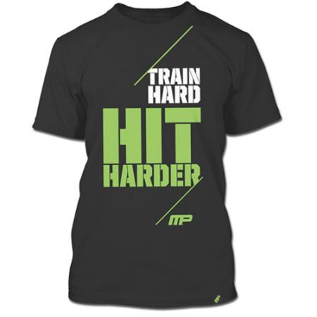 Camiseta Train Hard Hit Harder - Cinza - Muscle Pharm