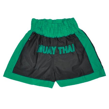 Shorts Muay Thai Bordado - Preto / Verde - Shiroi