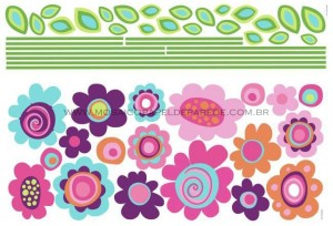 Flower Stripe Giant Wall Decals - RMK1622GM  - foto principal 2