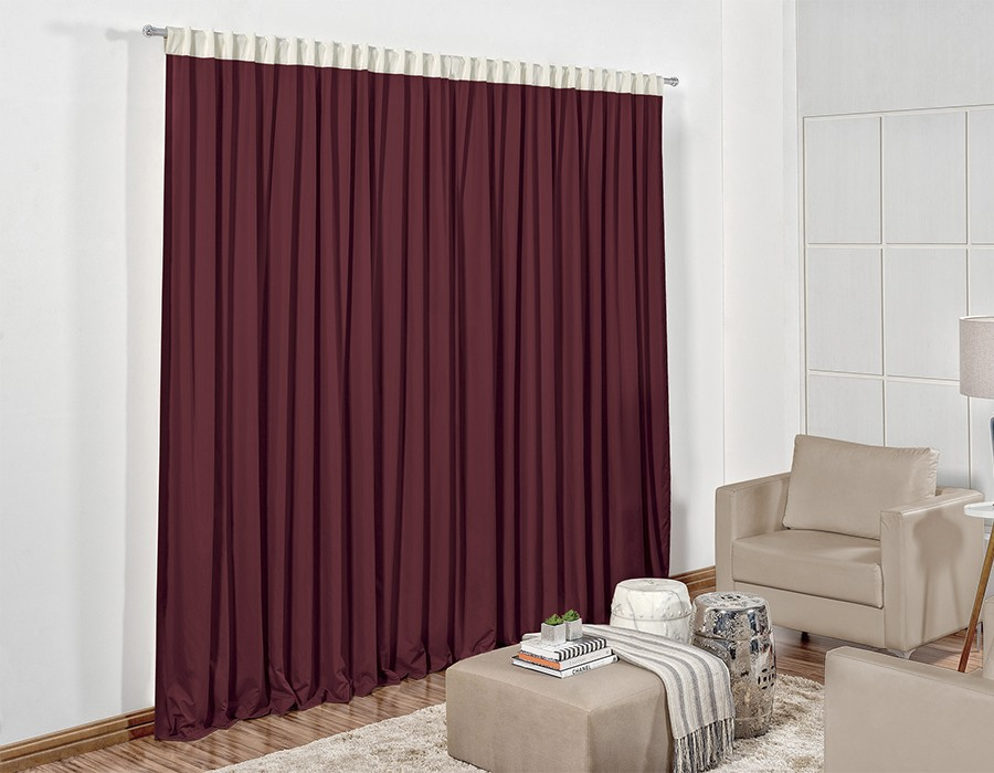Cortina 2,00m x 1,80m Colors Dupla Face Cabernet Palha